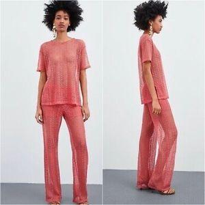 NWT Zara Knit Pink Shirt and Pants Co-ord Set
